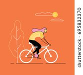 girl riding bicycle. vector... | Shutterstock .eps vector #695832370