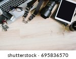 photography hipster work table... | Shutterstock . vector #695836570