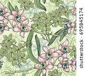vector floral seamless pattern... | Shutterstock .eps vector #695845174