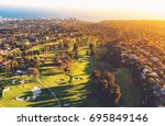 aerial view of a golf course... | Shutterstock . vector #695849146