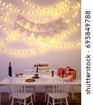 birthday dinner on white table... | Shutterstock . vector #695849788