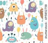 funny monsters seamless pattern.... | Shutterstock .eps vector #695852758