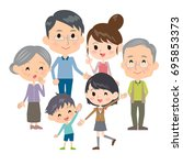 family three generations gather | Shutterstock .eps vector #695853373