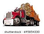 cartoon logging truck isolated...   Shutterstock .eps vector #695854330