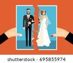 break up. crisis relationship... | Shutterstock .eps vector #695855974