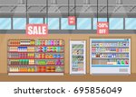 supermarket store interior with ... | Shutterstock .eps vector #695856049