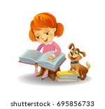 girl reading book with cute... | Shutterstock .eps vector #695856733