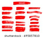 painted grunge stripes set. red ... | Shutterstock .eps vector #695857810