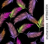 pattern exotic colorful palm... | Shutterstock .eps vector #695860354