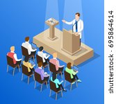 isometric people doctor... | Shutterstock .eps vector #695864614