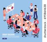 office workers having... | Shutterstock .eps vector #695864638