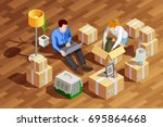 moving people isometric... | Shutterstock .eps vector #695864668