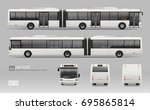 long city bus template isolated ... | Shutterstock .eps vector #695865814