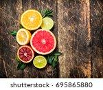 citrus background. fresh citrus ... | Shutterstock . vector #695865880