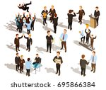 happy winner male business... | Shutterstock .eps vector #695866384