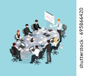 office conference isometric... | Shutterstock .eps vector #695866420