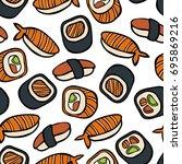 japanese cuisine  sushi and... | Shutterstock .eps vector #695869216