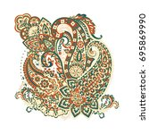 isolated indian pattern with... | Shutterstock .eps vector #695869990