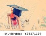 graduate study abroad program... | Shutterstock . vector #695871199