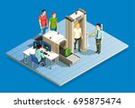 check in airport people...   Shutterstock .eps vector #695875474