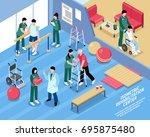 rehabilitation center exercise...   Shutterstock .eps vector #695875480