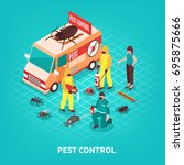 pest control service workers in ... | Shutterstock .eps vector #695875666