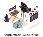 isometric cinema composition... | Shutterstock .eps vector #695875708