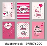 set of hand drawn doodle style... | Shutterstock .eps vector #695876200