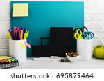 school background  a white... | Shutterstock . vector #695879464