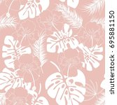 seamless tropical pattern with... | Shutterstock .eps vector #695881150