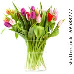 Isolated Tulips In A Glass Vase