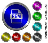 pem file format icons on round... | Shutterstock .eps vector #695883823