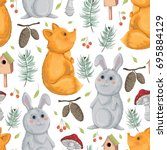seamless pattern with fox ... | Shutterstock .eps vector #695884129