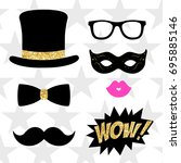 photo booth props vector... | Shutterstock .eps vector #695885146