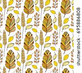 pattern with autumn leaves.... | Shutterstock .eps vector #695886808
