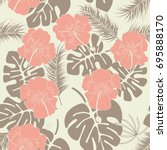 seamless tropical pattern with... | Shutterstock .eps vector #695888170