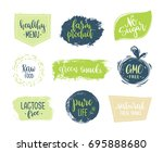 eco templates with hand... | Shutterstock .eps vector #695888680