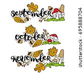 september. october. november.... | Shutterstock .eps vector #695888704