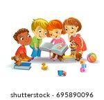 group of happy kids reading... | Shutterstock .eps vector #695890096