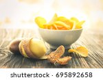 crispy potato chips in the...   Shutterstock . vector #695892658