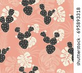 seamless tropical pattern with... | Shutterstock .eps vector #695893318