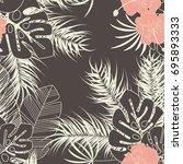 summer seamless tropical... | Shutterstock .eps vector #695893333