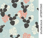 seamless tropical pattern with... | Shutterstock .eps vector #695893360