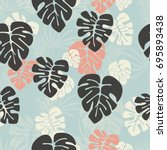 seamless pattern with monstera... | Shutterstock .eps vector #695893438