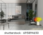 apartment  3d rendering project ... | Shutterstock . vector #695894650