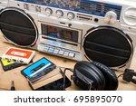 retro cassette deck header...   Shutterstock . vector #695895070