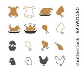 chicken icons set vector   Shutterstock .eps vector #695901280