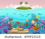 beautiful fish in the sea. full ... | Shutterstock .eps vector #695912113