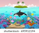 beautiful fish in the sea.... | Shutterstock .eps vector #695912194