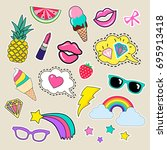set of girl fashion patches ... | Shutterstock .eps vector #695913418